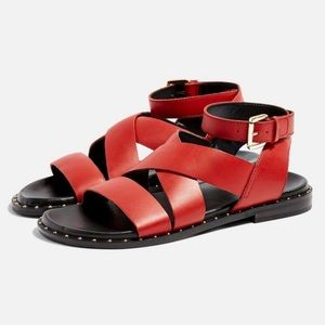 Topshop Red Hampton Cross Strap Ankle Sandals